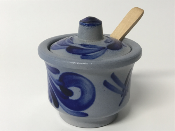 Mustard pot with lid and wooden spoon