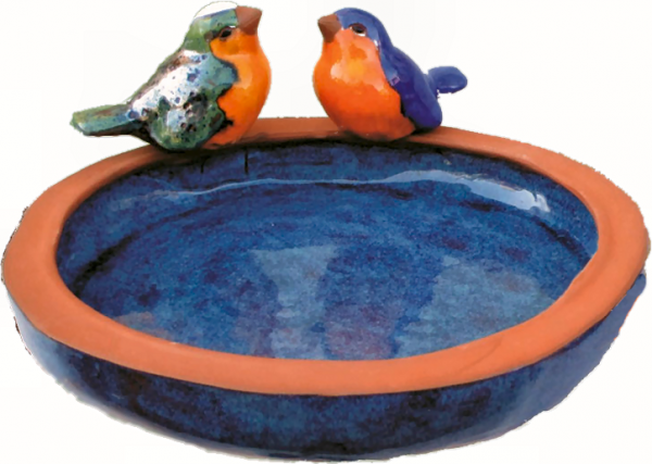 Bird bath with birds