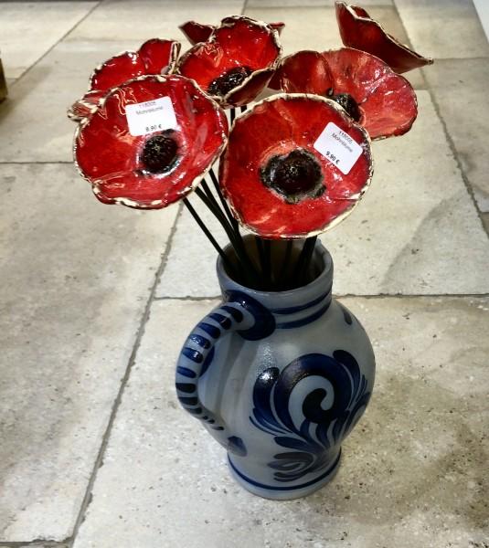 Mohnblume, frostfestes Porzellan inklusive Stab